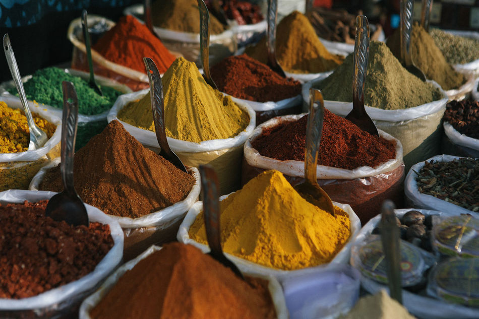 Indian Spice Market Black Pepper Cardamom Cayenne Pepper Choice Color Colourful Kitchen Cooking A Meal Cooking Ingredients Cumin Delicious Food And Drink Food Market Fresh Produce Freshness Garlic Indian Food Kitchen Art Kitchen Stories Lifestyle Market Stall Red Chillies Saffron Spice Market Travel Tumeric