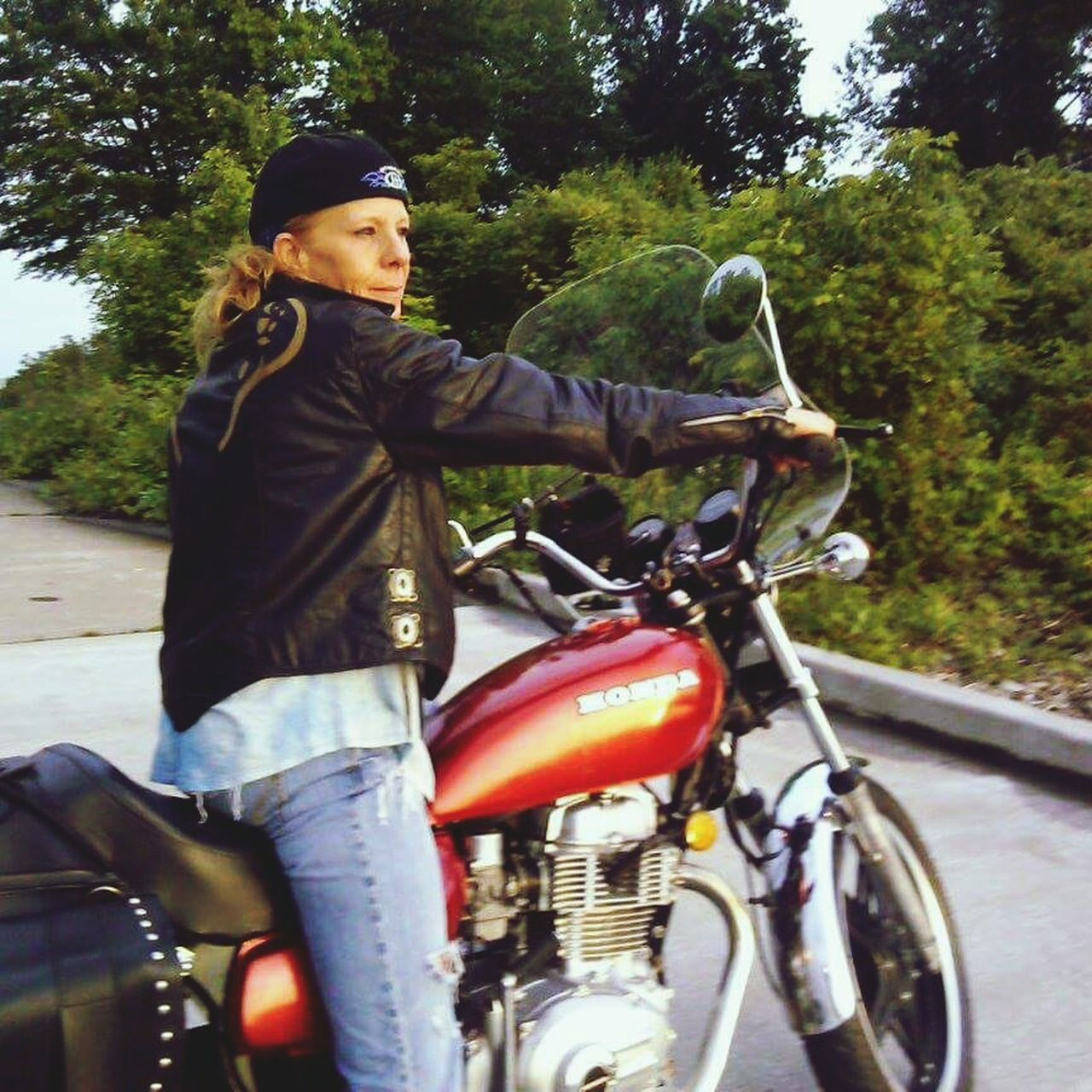 Motorcycle Biker Full Length Outdoors Lake Life One Woman Only Leisure Activity Happy Day Trees And Bushes Ginger Girl