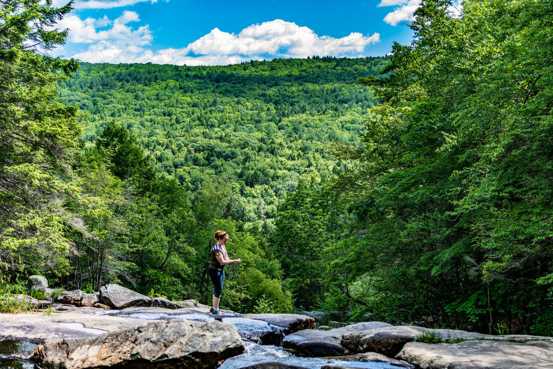 Adventure Beauty In Nature Day Forest Full Length Glendale Falls Green Color Growth Hiking Landscape Leisure Activity Middlefield, MA Mountain Nature One Person Outdoors Real People Rock - Object Scenics Sky Standing Tranquil Scene Tranquility Tree Young Adult