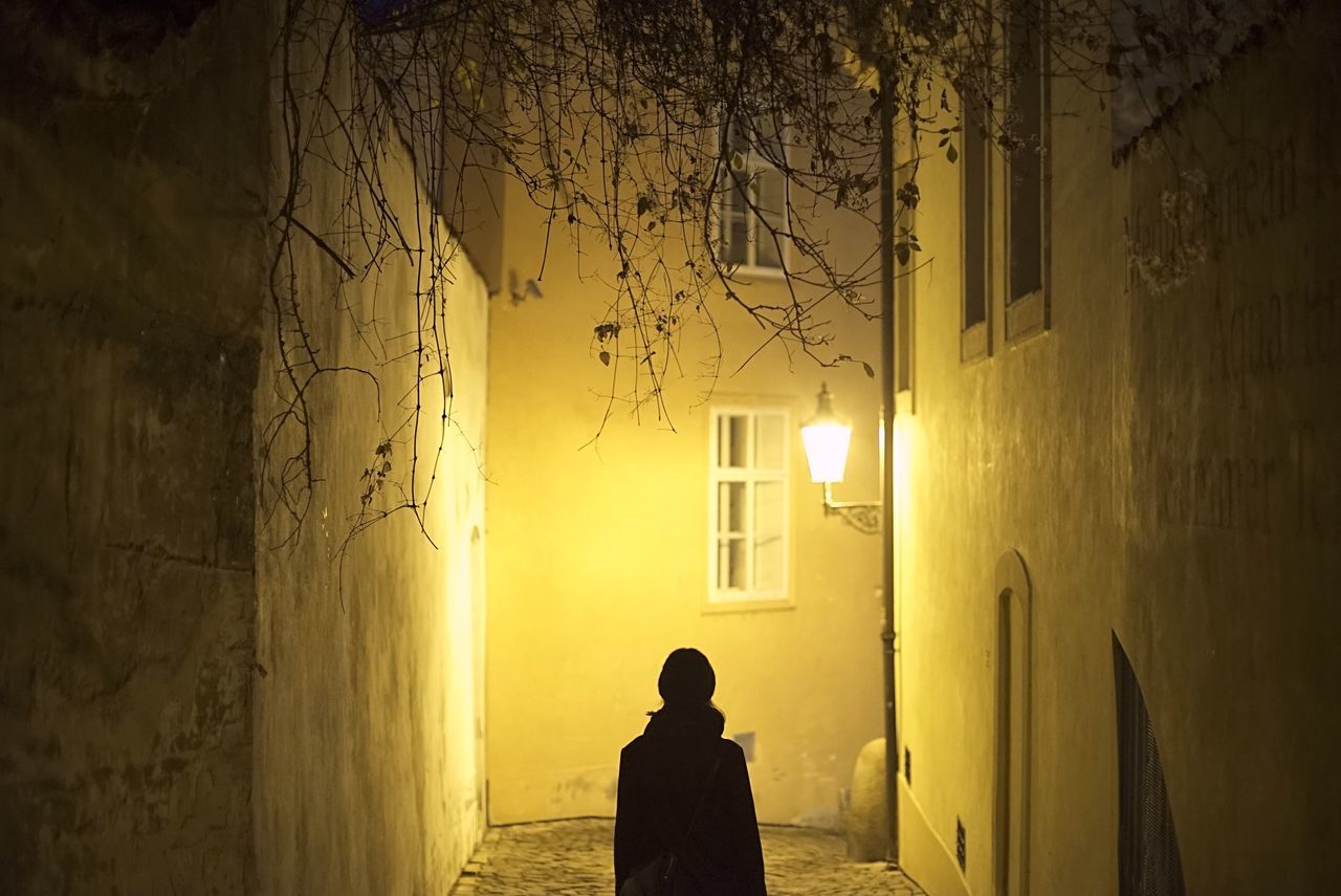 Streets of Prague Night Night Lights Streetphotography Street Prague Old Buildings Old Town Girl Alone Nightphotography Nightlights