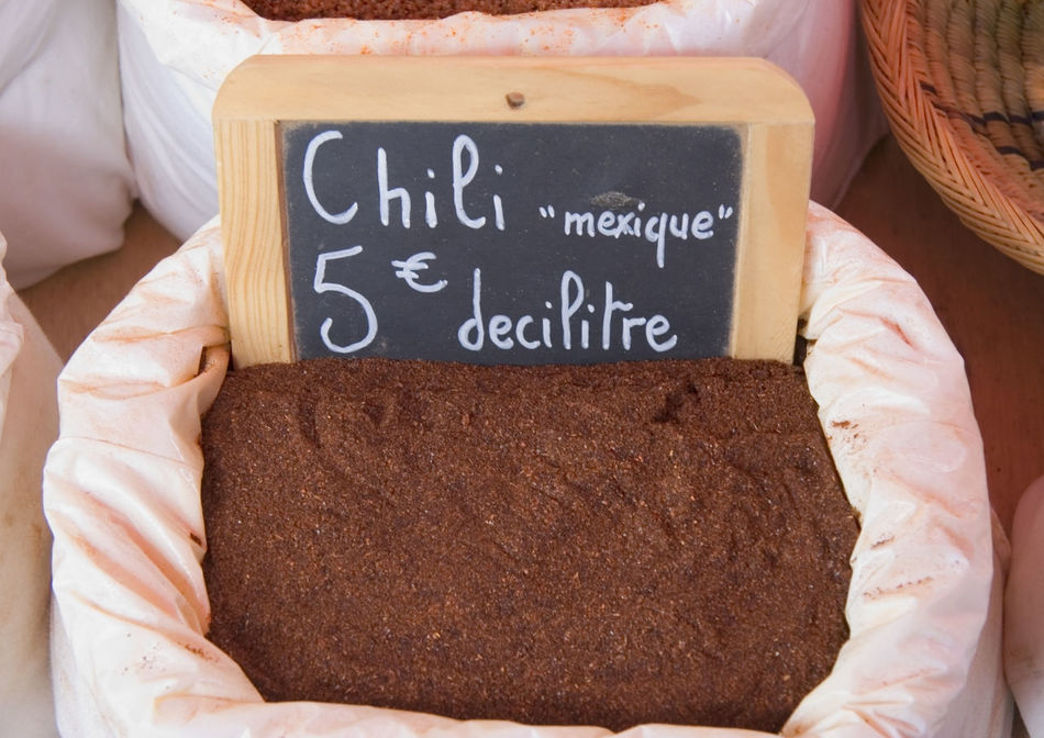 mexican chili for sale - on a french market in the provence Blackboard  Brown Chili  Chili Pepper Chilies Chilli Communication Food Food And Drink For Sale France French Freshness Hot Hot Spices Market Market Stall Mexican Powder Price Tag Provence Retail  Spice Spices Text