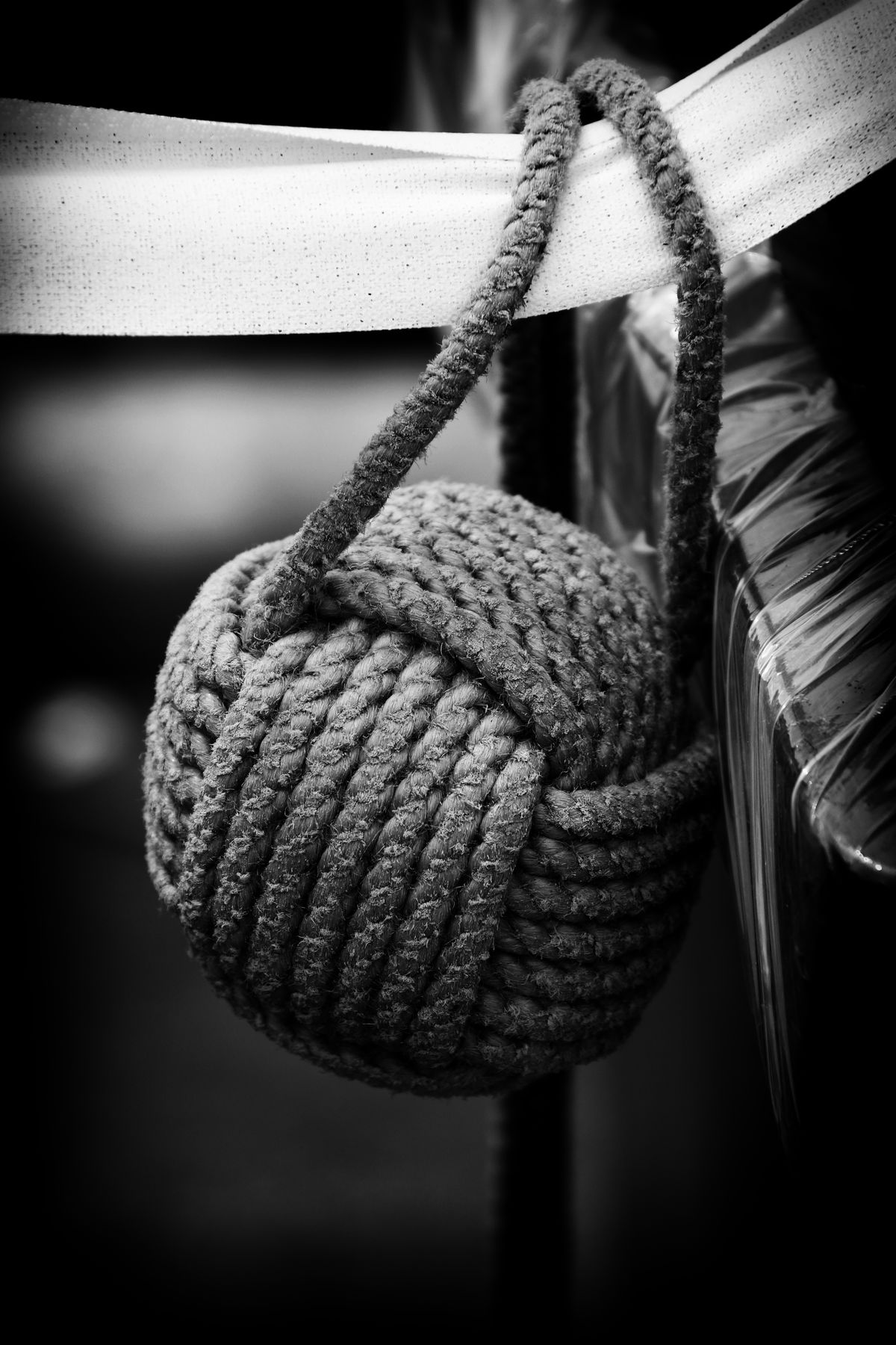 Close-up Focus On Foreground Hanging Knot Makrame Man Made Object Monkeys Fist Knot No People Ribbon