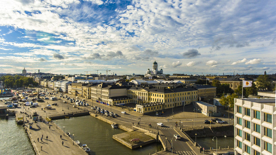 Aerial Photography Aerial View Architecture Bridge - Man Made Structure Building Exterior Built Structure City Cityscape Day Finland Helsinki High Angle View Outdoors Riverside Sea Sky Summer Tourism Travel Destinations Vacation Destination Water