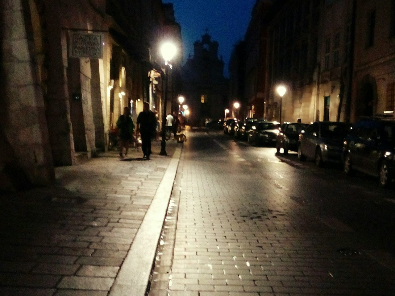 architecture, built structure, street, walking, building exterior, night, illuminated, city, real people, outdoors