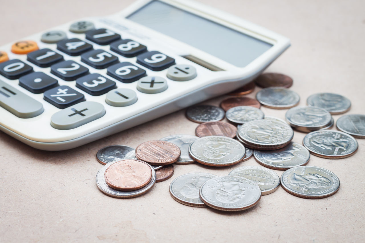 finance, coin, currency, wealth, savings, number, metal, still life, calculator, money, silver colored, text, indoors, table, no people, business, close-up, budget, day