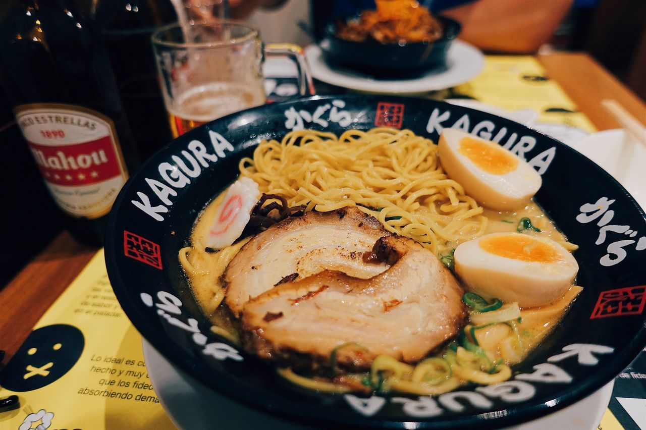 Ramen lover 🍜//. Food Food And Drink Foodporn Foodphotography Ramen Love Favorite Noodles Meal Ready-to-eat Freshness Serving Size Bowl Close-up Japanese  ASIA City Life Summer Focus On Foreground Foodie Table Eating Lifestyles Live For The Story
