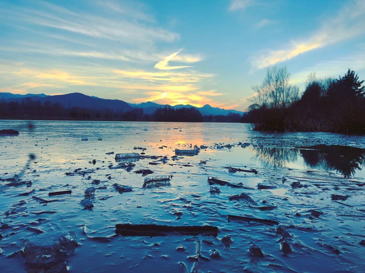 Water Sky Sunset Lake Frozen Nature