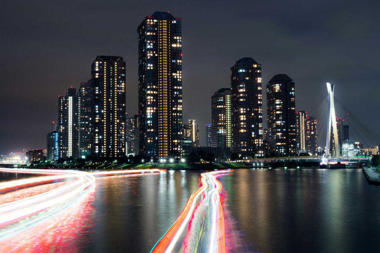 光ファイバー / Optical Fiber Nightphotography Night View Night Lights Night Light And Shadow Light Long Exposure River Buildings Olympus EyeEm Best Shots Cityscapes Ship Boat