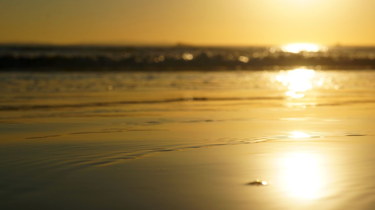 43 Golden Moments Atmospheric Mood Beach Beauty In Nature Color Palette Golden Horizon Over Water Liquid Gold Liquid Gold Ocean Majestic Outdoors Reflection Reflection In Water Sand Scenics Sea Shine Shore Sky Sun Sunset Tranquil Scene Tranquility Water Wave