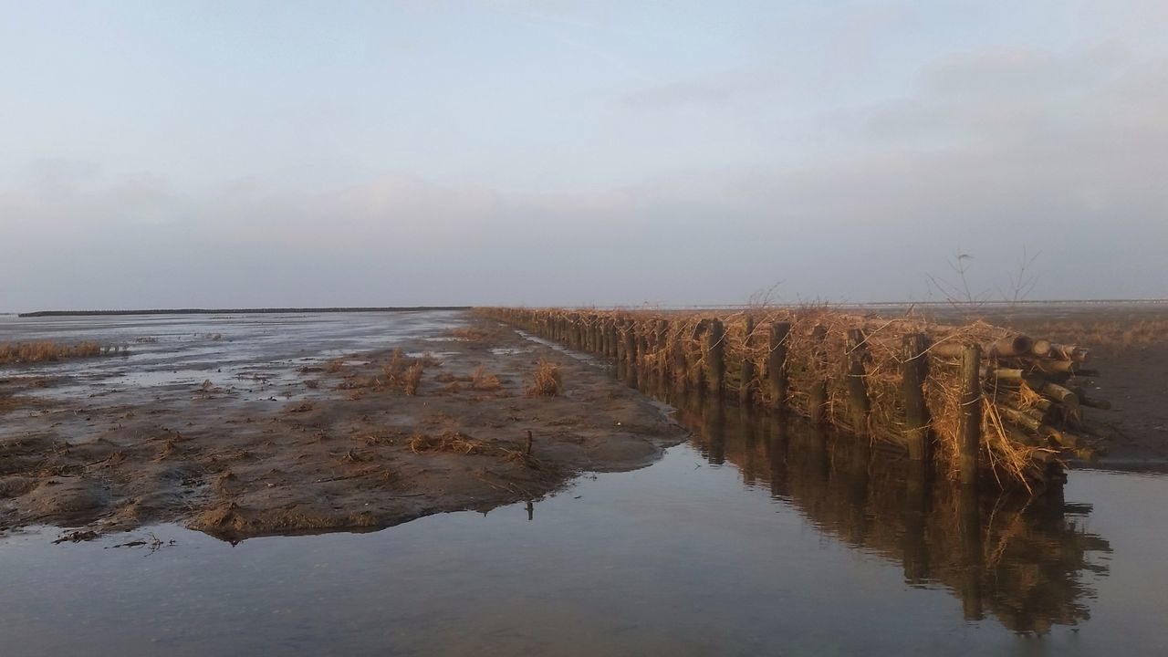 Reflection Water Nature Sky Outdoors Wetland Lake No People Landscape Extreme Weather Day Uithuizermeeden Waddenzee Groningen Holland Sea