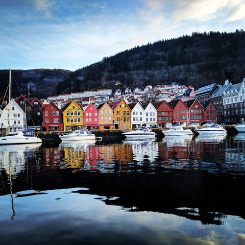 Landscape Mountain Water Bergen Bryggen Port Day Sky Scenics First Eyeem Photo EyeEmNewHere