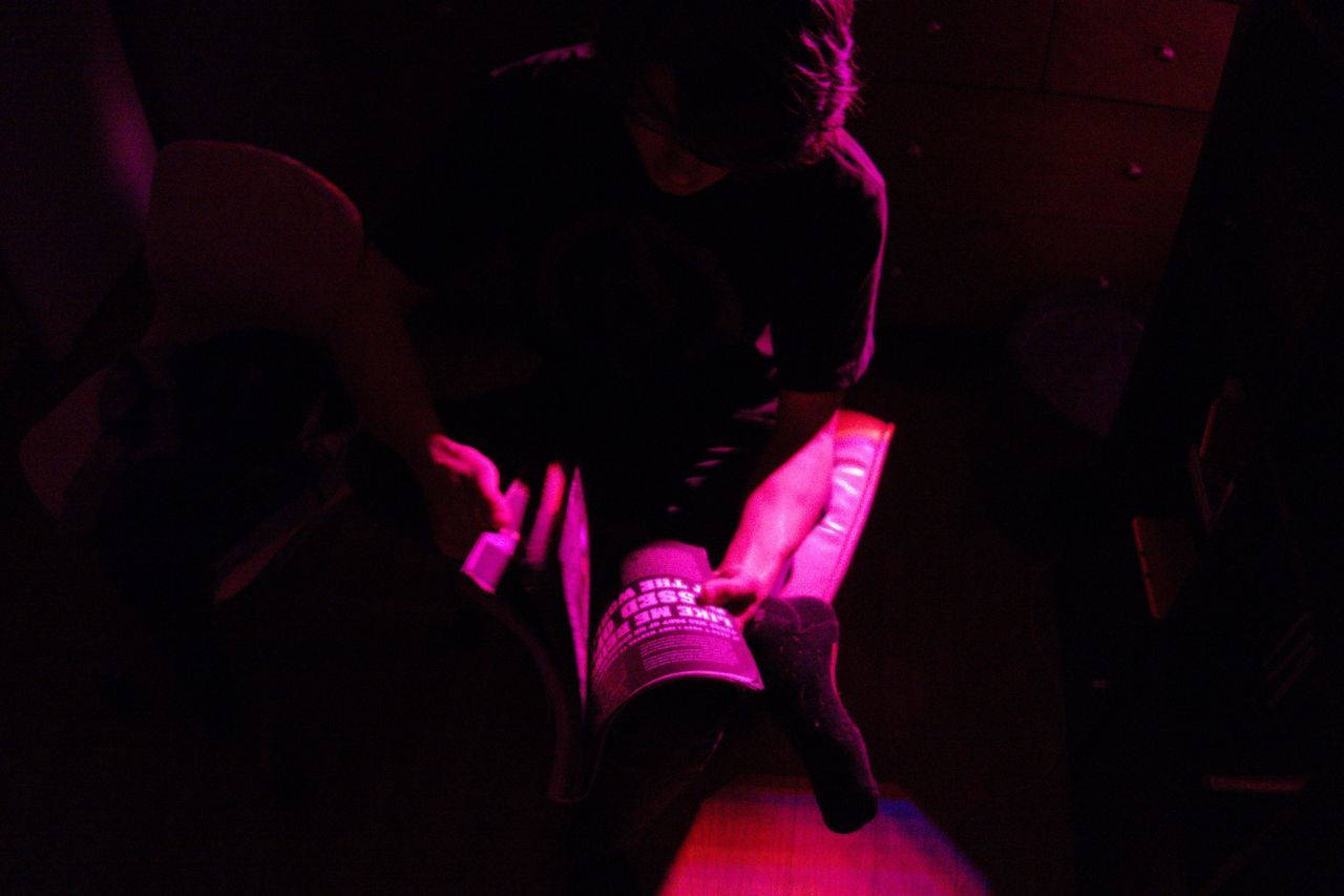 Real People Lifestyles Pink Color Night One Person Illuminated Men Indoors  Book Rx100 EyeEmNewHere