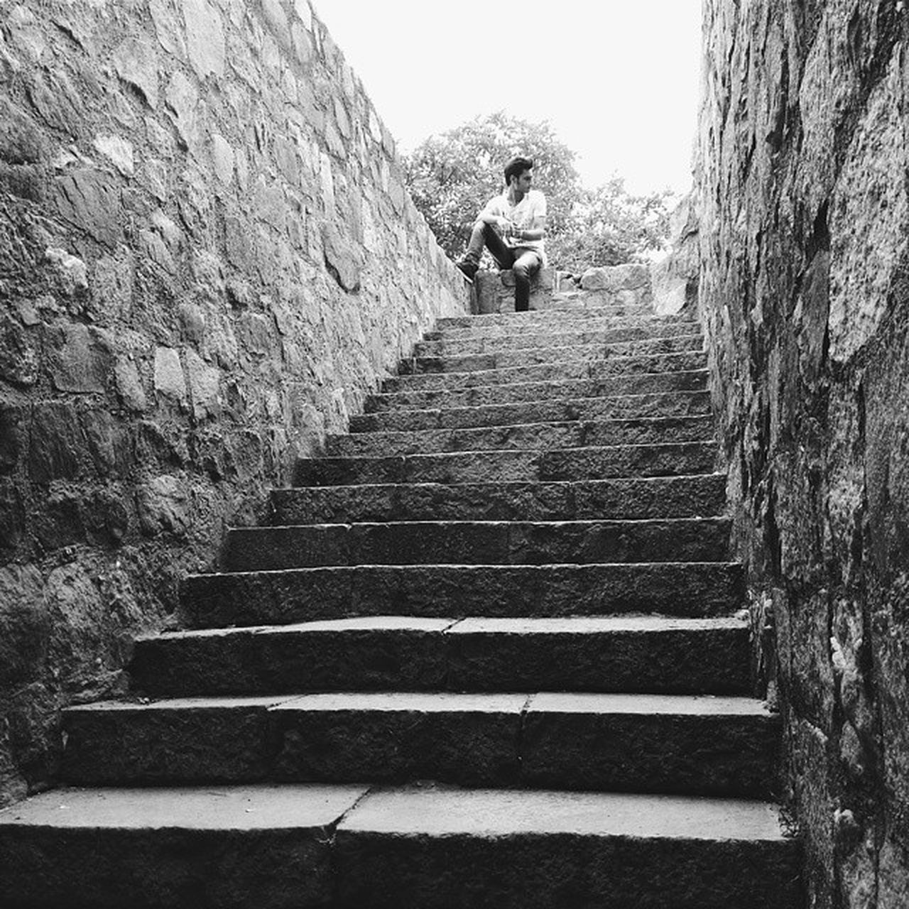 BW Hauzkhas Village Sirifort Newdelhi Monuments Stairs Blackandwhite
