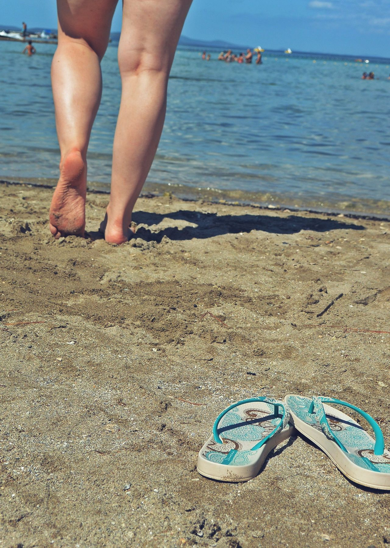 Adriatic Sea Beach Beach Life Blue Borik Croatia Day Feet Flip-flop Human Body Part Legs Legs Only Leisure Activity One Person Outdoors Sand Sea Shoes Summer Tanning Thongs Vacation Vacations Water Zadar