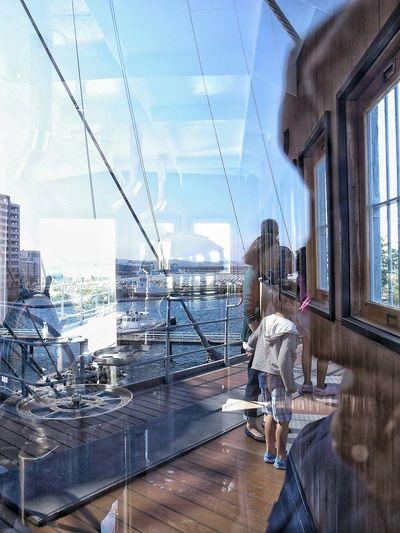 Reflection Glass Reflection On The Ship Sea And Sky Enjoying Holiday Enjoying Life People Watching Glitch EyeEm Best Edits