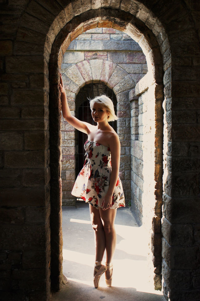 Arch Architecture Archway Ballet Shoes Blonde Brick Wall Built Structure Cardiff Castle Casual Clothing Dancer Day Fashionable Full Length Girl Standing Wales Young Adult