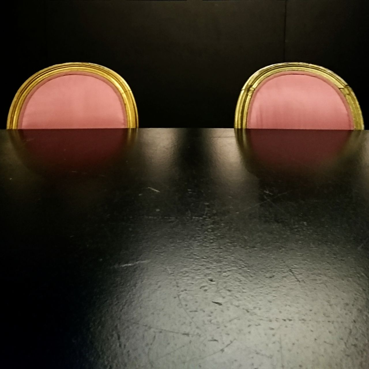 Two chairs ... Looks like mickey mouses' ears No People Minimalist Architecture Modern Architecture Built Structure Chairs Furniture Interior Detail Dark Background