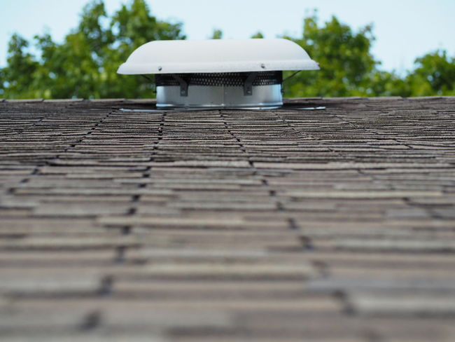 Outdoors Roof Selective Focus Shingles Surface Level Upward Vent
