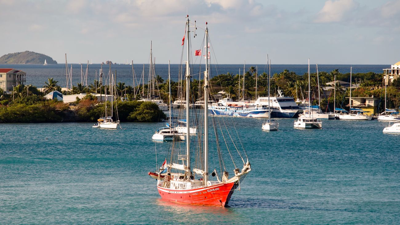 Caribbean Yacht Sailing Boat Ship Harbour Seascape Sea Horizon Over Water Coastline Moored Tranquility Tranquil Scene Tourism Travel High Angle View Idyllic Beauty In Nature Travel Photography