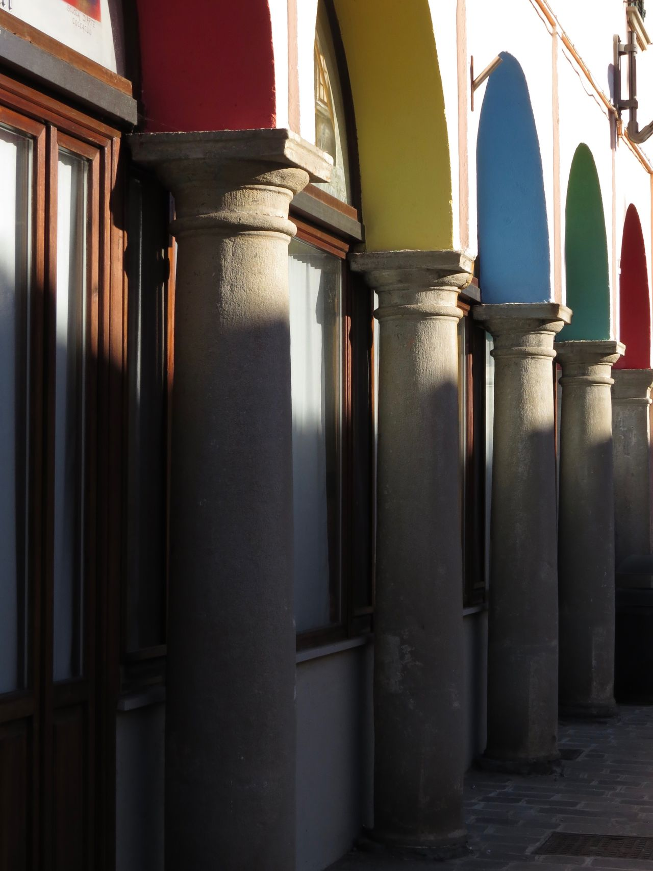 Arches Architecture Columns Diminishing Perspective In A Row Light And Shadow Multicolor No People Outdoors
