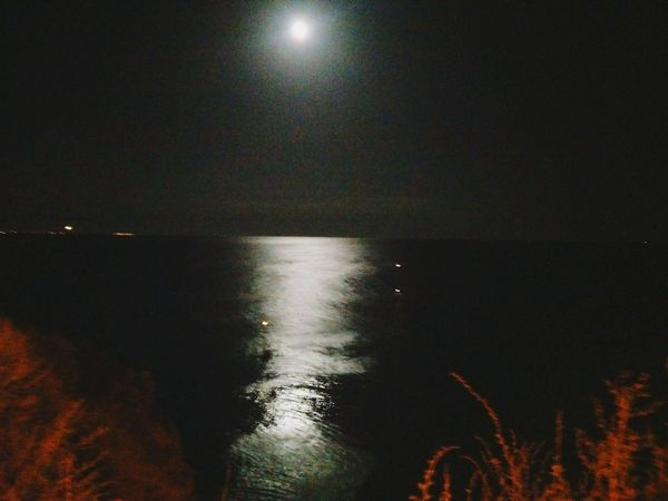 Water Moon Night Tranquility Reflection