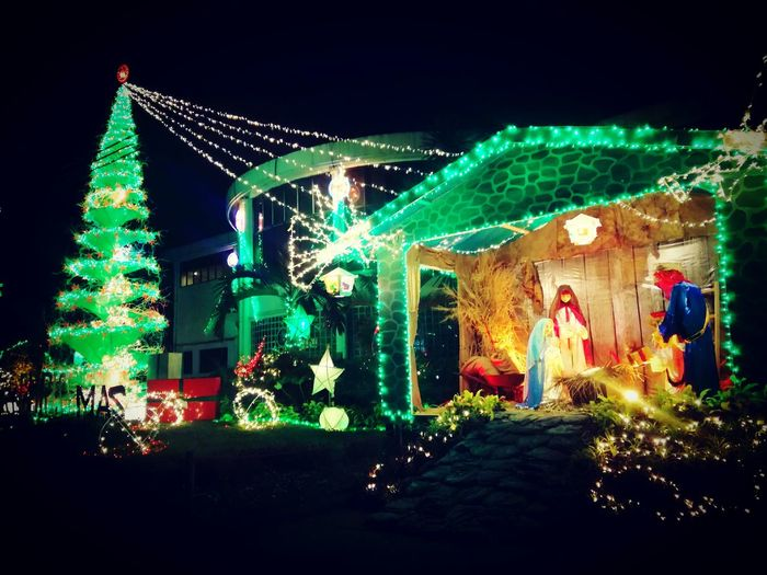 Green Christmas 😍 DLSAU Illuminated Night Lighting Equipment Friendship People Nightlife Celebration Sky Outdoors First Eyeem Photo HuaweiP9Photography Huaweip9lite