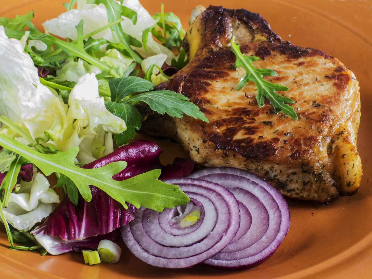 Roasted pork chop on a plate with a green salad, red onion on an old wooden weathered table Chop Close-up Day Food Food And Drink Freshness Green Healthy Eating Indoors  Lettuce No People Old Onion Plate Pork Ready-to-eat Relaxing Roasted Salad Table Weathered Wooden
