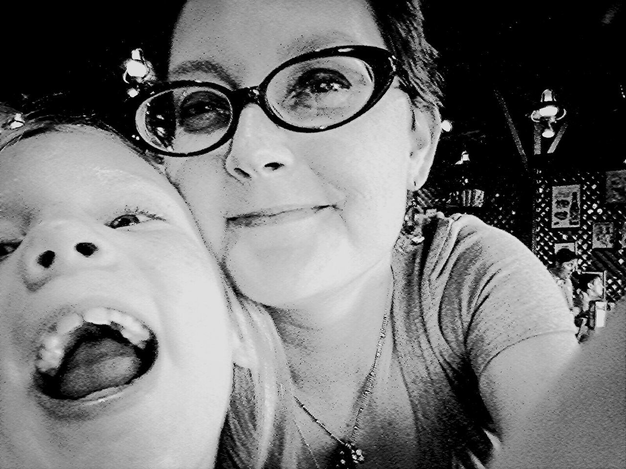 At dinner with my baby girl I Love My Girl  Family Portrait Monochrome
