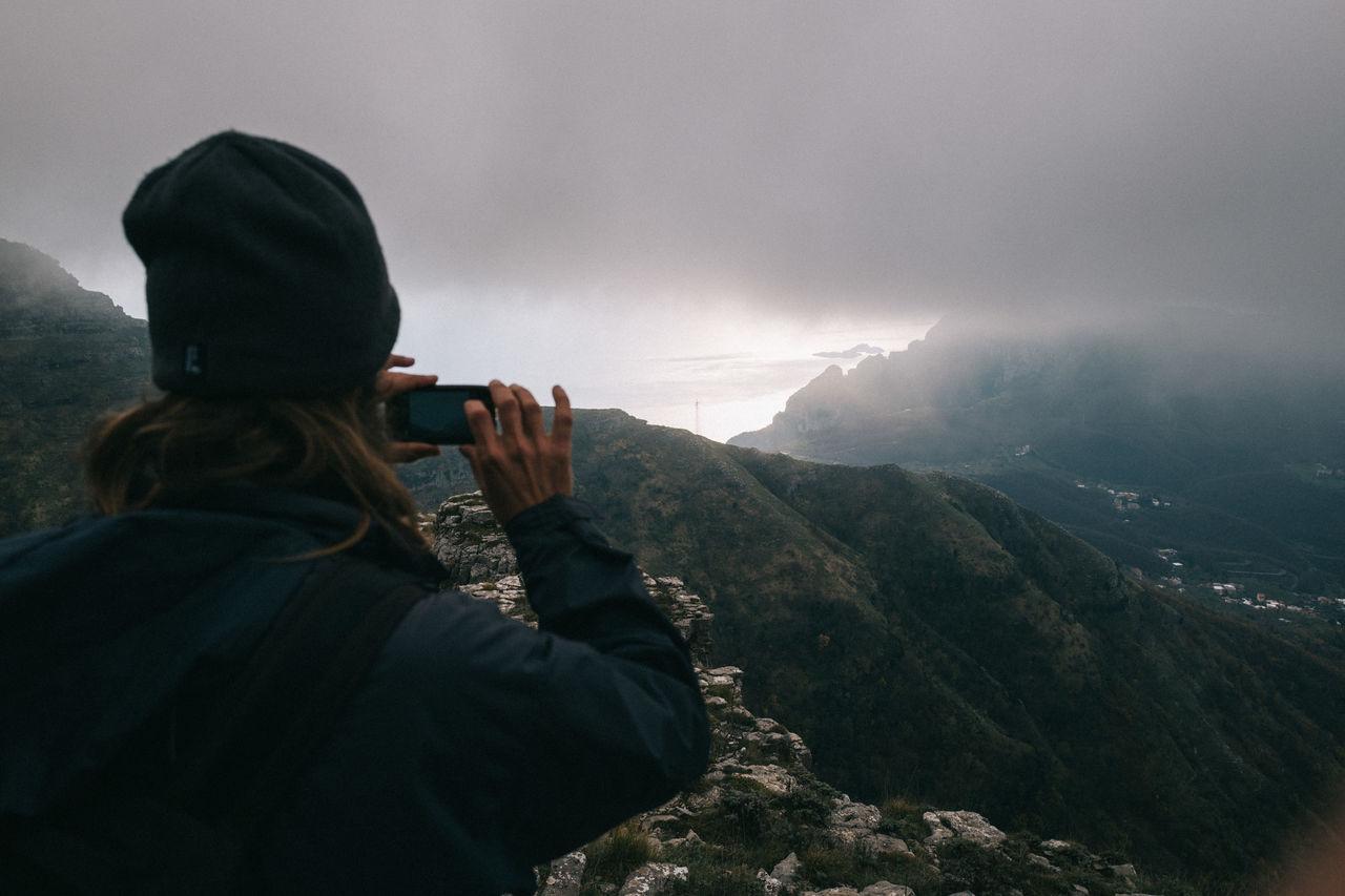 Italia Italy Man Mountain Nature Rocks Sea Sky Taking Photos