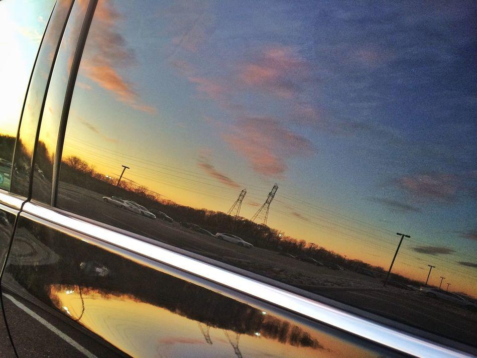 Reflection Sunset Blue Yellow