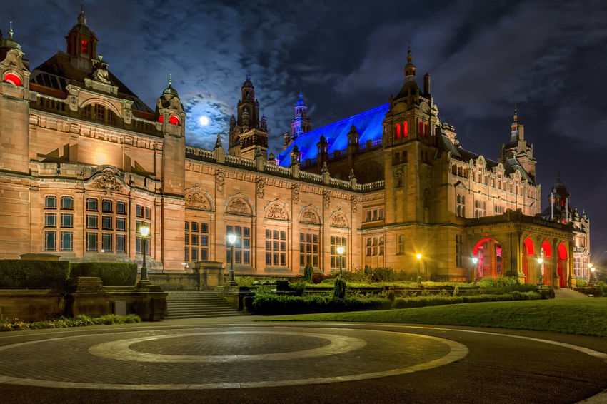 Moon over Kelvingrove Glasgow  Architecture Art Gallery Building Exterior Built Structure City Illuminated Kelvingrove Long Exposure Museum Night No People Outdoors Sky Travel Destinations