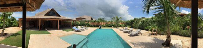 Blue Sky Bluesky Day Grass Green Holiday House House Palm Palm Trees Panorama Panoramic Panoramic Photography Pool Tree
