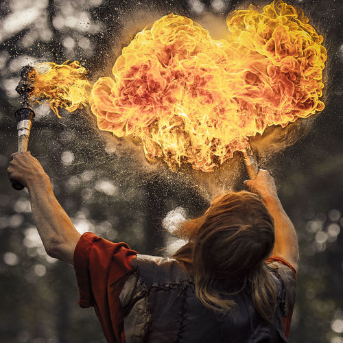 Fire breather Beard Fire Firebreather  Firebreathing Heart Heart Shape Leather Long Hair Man Spitting  Vibrant Color Yellow