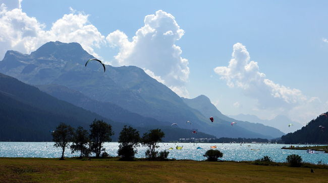 Cloud - Sky Kitboard Lake Lake View Landscape Mountain Mountain View Nature Non-urban Scene Real Relax Time Relaxation Sky Sport In The City Sunset Travel Destinations Wakebording Water Wind