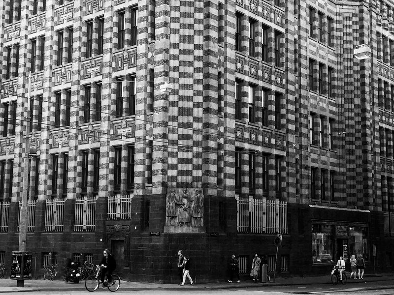 Dark Intersection Architecture Blackandwhite Building Building Exterior Bycicle City City Life Day Full Frame People Street Streetphotography Symmetry Walking