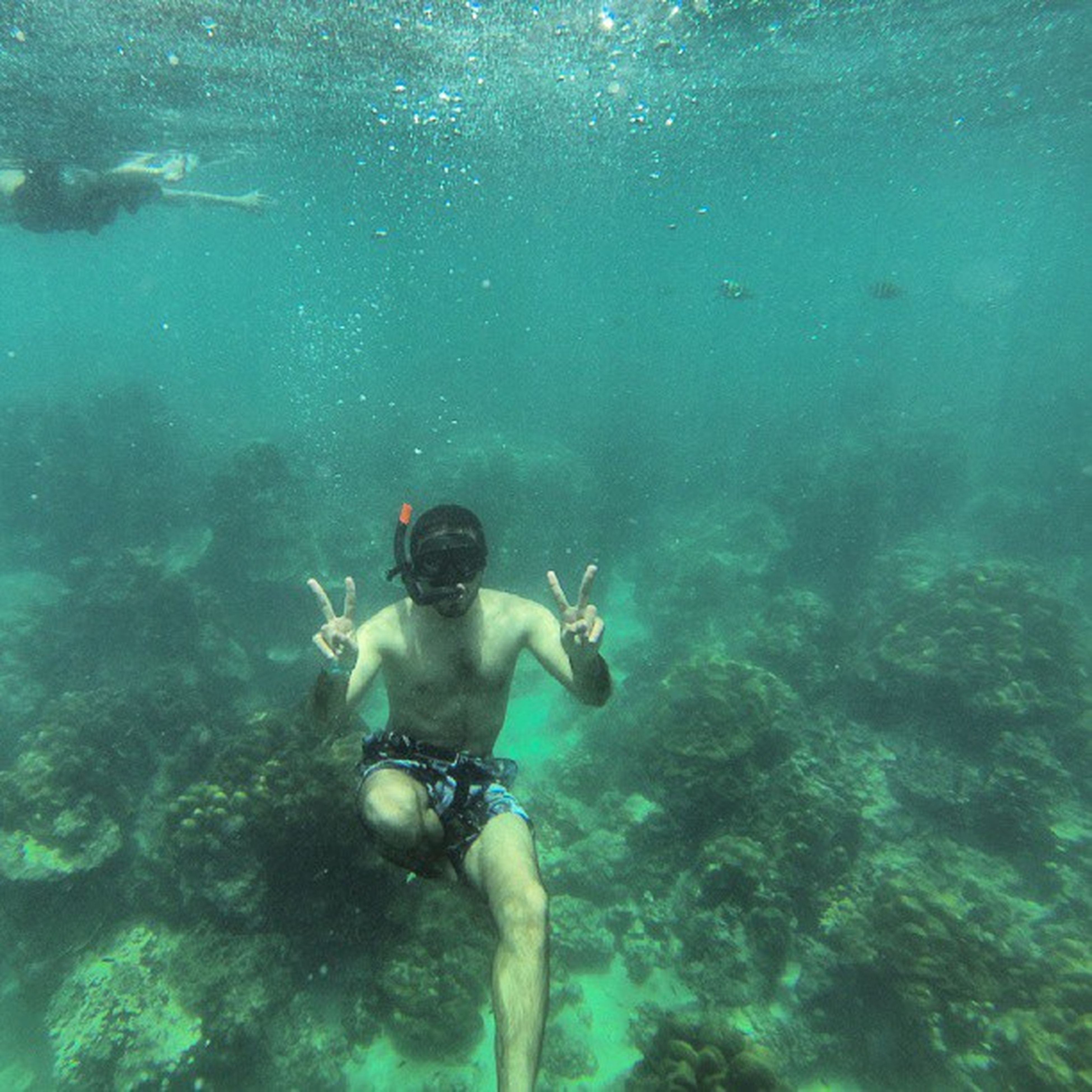 underwater, water, swimming, undersea, leisure activity, lifestyles, sea, adventure, blue, fish, sea life, full length, exploration, high angle view, men, scuba diving, vacations, shirtless