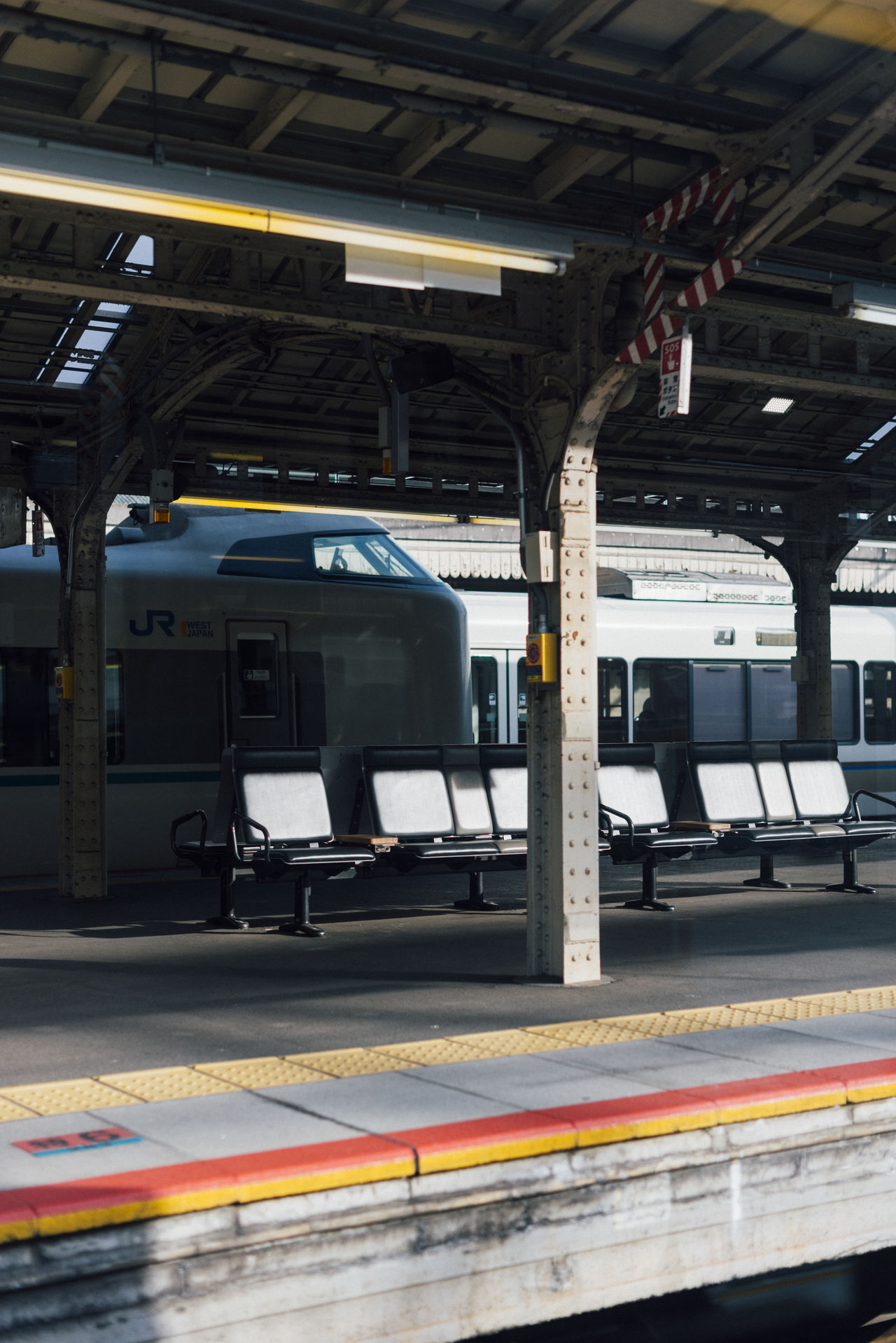 Kyoto tarvels Commuting Day Industry Light And Shadow Morning Morning Light No People Platform Red Seat Train Train Station Tranquil Scene Tranquility Transportation Travel Travel Destinations Urban Yellow