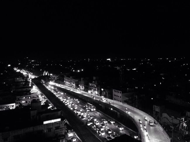 Black And White Nightphotography Night Lights City Illuminated Road High Angle View Cityscape