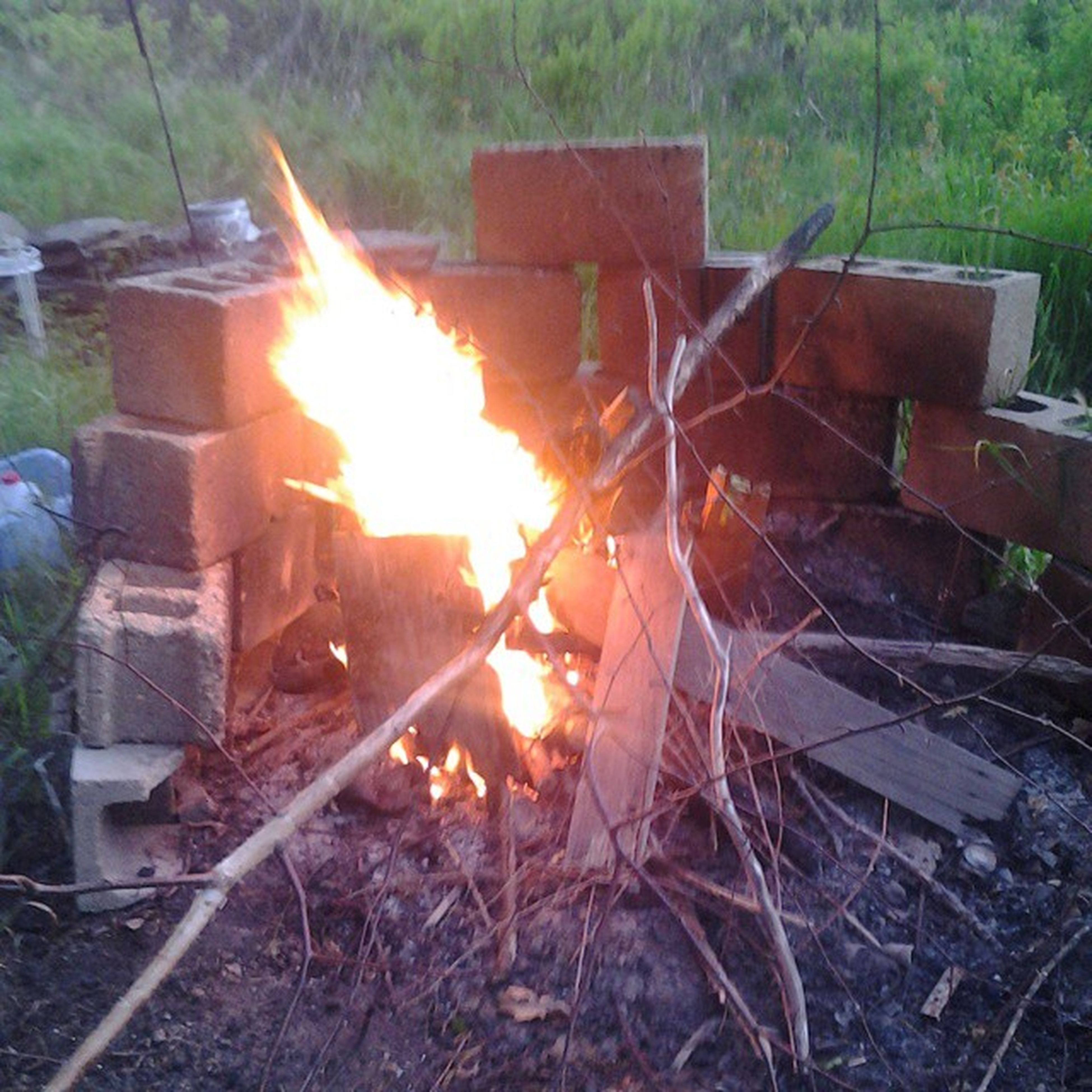 flame, burning, heat - temperature, fire - natural phenomenon, firewood, wood - material, bonfire, log, field, orange color, sunlight, glowing, heat, fire, forest, grass, outdoors, campfire, fence, wood