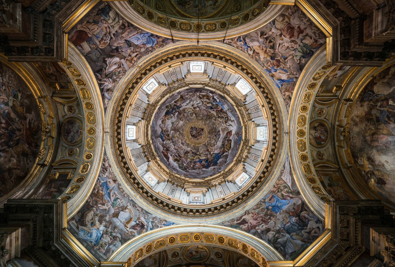 Into the Vortex. Religion Low Angle View Art And Craft Architecture Dome Ceiling Place Of Worship Indoors  No People Spirituality City Travel Destinations Fresco Cupola Naples Napoli Interior Design Bella Italia Italy Lookingup Italia Italy❤️ Architecture Duomo Church