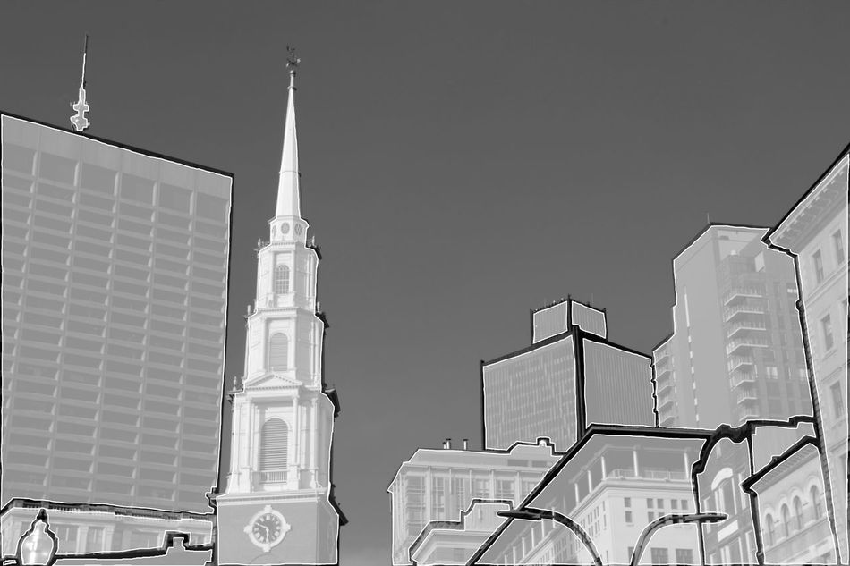 Snow Architecture Boston Building Exterior Building Story Built Structure City City Life Clear Sky Design High Section Low Angle View Modern No People Outdoors Photoshop Place Of Worship Sky Skyscraper Spire  Steeple Tall Tall - High Tourism Tower Travel Destinations