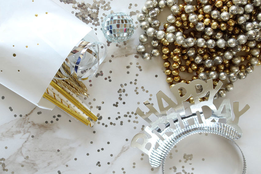 Happy Birthday Bright Candles Celebration Crown Flame Fun Glitter Gold Objects Backgrounds Close Up Concept Copy Space Decoration Festive Happy Birthday! Party Silver  Straw Streamers Styled Template Treat Bag View From Above White