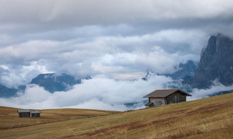 The beauty of Dolomite Mountains in autumn. Italy - Europe. Alpine Alps Autumn Barn Beautiful Nature Beauty Clouds Cloudy Dolomite Dolomites Europe Field Hut Italy Landscape Meadow Mountain National Park Nature Outdoor Storm Tourism Travel Weather