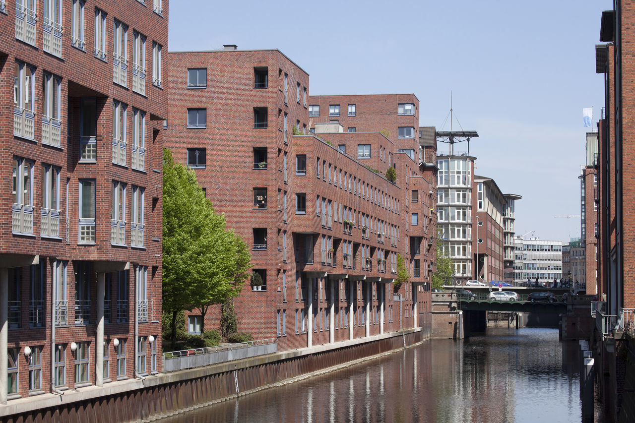 Modern Houses at Alsterfleet, Hamburg, Germany Alsterfleet Architecture Building Exterior Built Structure City City Life Cityscape Clear Sky Day Fleet German Hamburg Houses M No People Office Building Office Building Exterior Outdoors Sky Urban Skyline Water