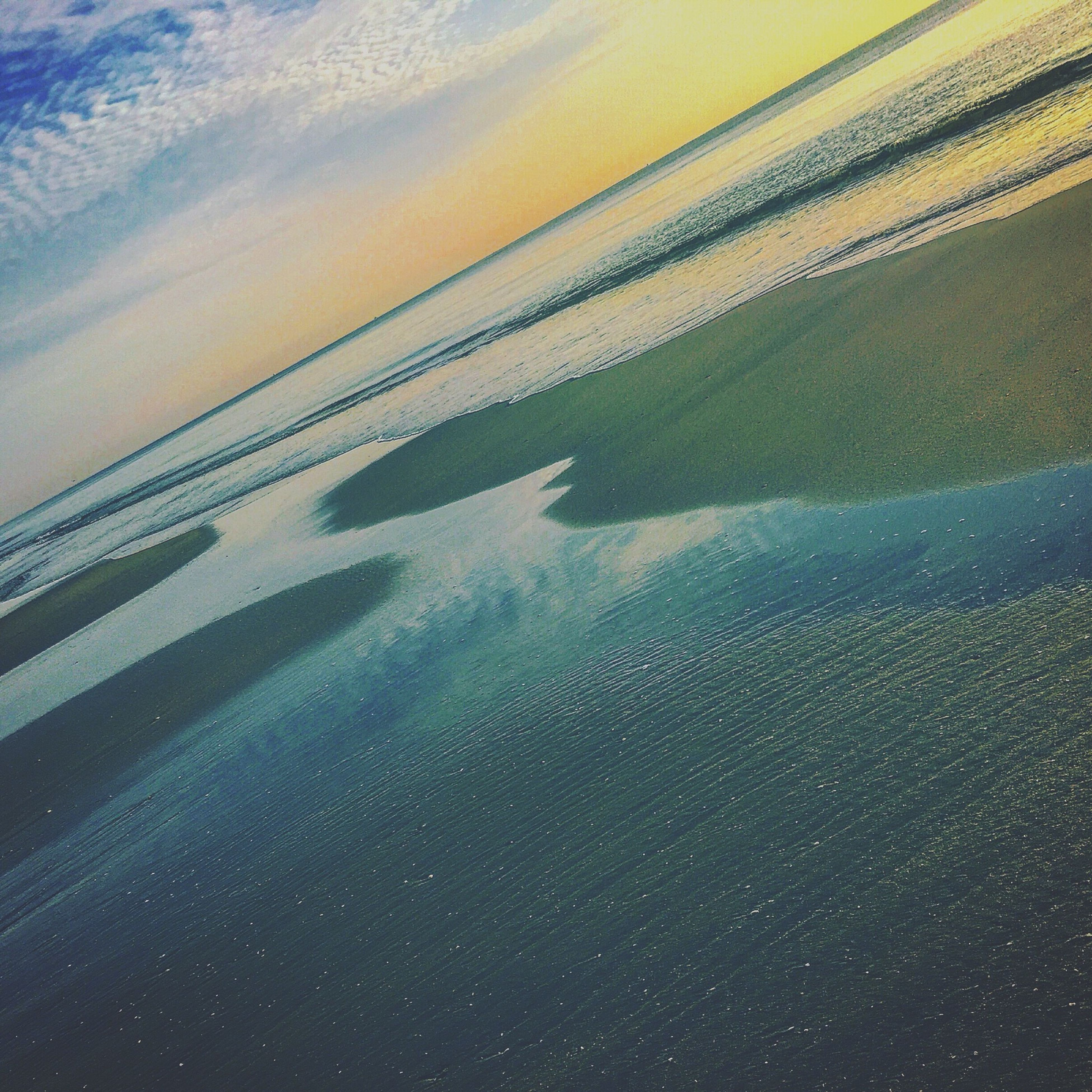 Graffiti In The Sand Rivers And Ocean Reflection Sliver Blue Sunrise Walking Around