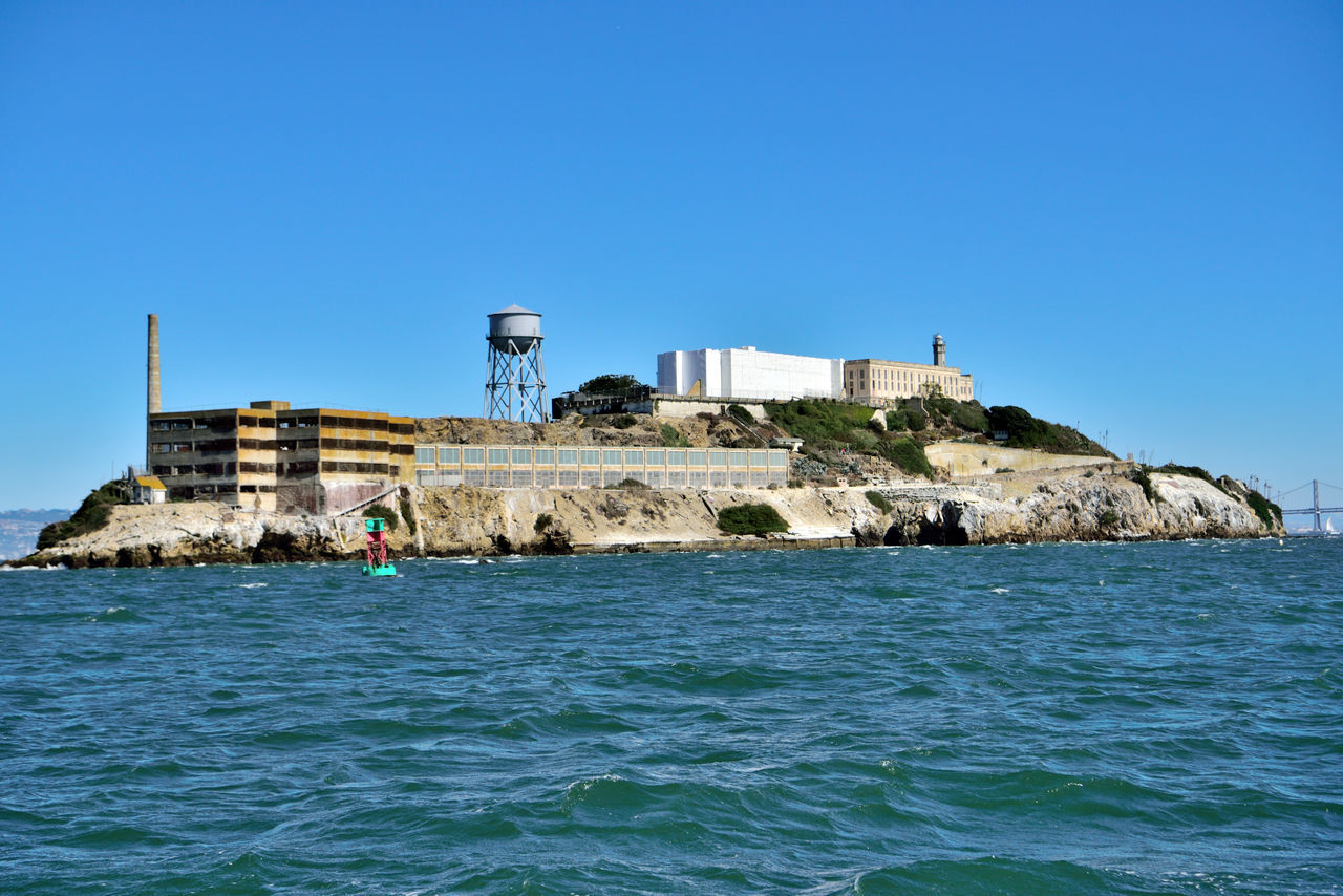 Alcatraz Island From The Almas Bow 2 Flat-bottomed Wooden-hulled Scow Schooner Cargo Ship Built 1891 Sailing San Francisco Bay Abord The Alma Federal Penitentiary 1934-63 Maximum High-security Prison The Rock 1st A U.S.Army Military Prison Site Of A Citadel 1860 Prison Building Built 1912 Now A Museum Showing Tours Today Managed By The National Park Service Golden Gate National Recreation Area Landscape_Collection Landscape_photography Alcatraz Island Bay Bridge