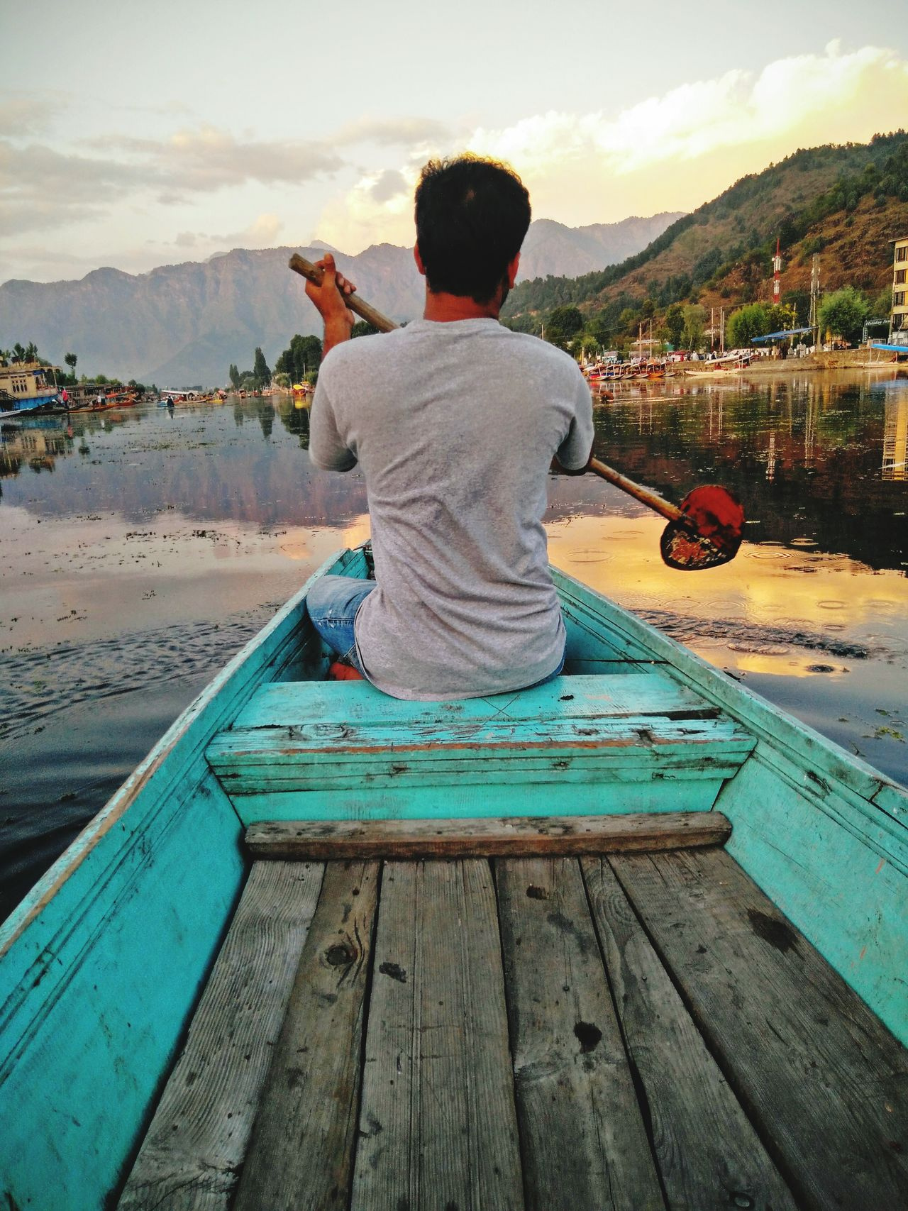Enjoy The New Normal with me !! Rear View Outdoors Water One Person Sky People Tourist Tourism Travel City Embrace Urban Life Vacations Srinagar Kashmir Shikara🚣🌅