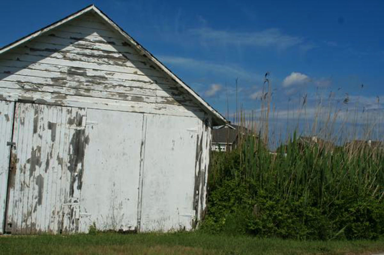 grass, sky, outdoors, abandoned, building exterior, field, day, barn, nature, no people, built structure, architecture