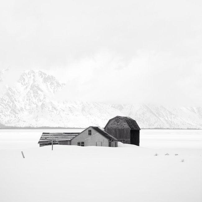 Snowy farm in America Beautiful Blackandwhite Farm