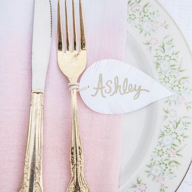 This is Gold . @kristinaleephotography @orangepapershoppe Feather  tags Vintage Flatware Dinnerware  Dining Tablescape Tableware Boho Textiles JAC &Jil Ombre Blush Napkins Handmade Linens Events Floral Weddingreception Wedding Bridalshowers Party Styling Etsy